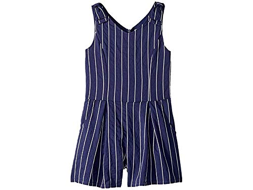 (HABITUAL girl Girl's Leila Romper with Bows (Big Kids) Navy 14)