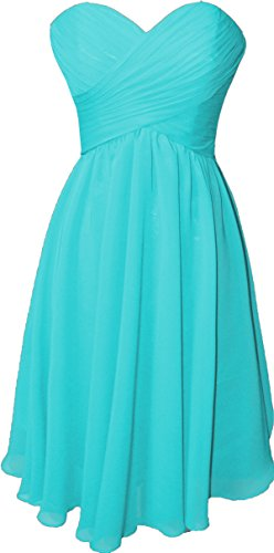 OkayBridal Women's Strapless sweetheart chiffon pleat short bridesmaid dress (16W, Turquoise) -