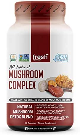 Mushroom Supplement Organic - Strongest DNA Verified - Immune System Support & Nootropic Brain Booster with Cordyceps, Lions Mane & Reishi Mushrooms - Wellness, Natural Energy and Stress Formula