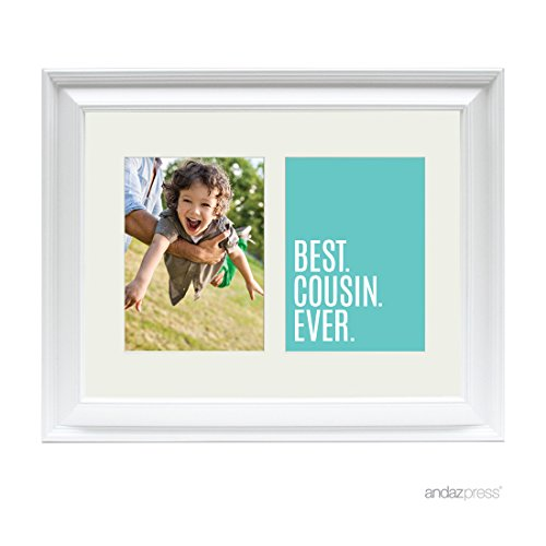 Andaz Press Double White 5x7-inch Photo Frame, Best Cousin Ever, 1-Pack, Christmas Birthday Picture Gift Wall Art