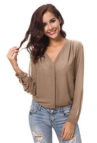 (Urban CoCo Womens V Neck Ruffled Shoulder Solid Chiffon Blouse (M, Camel))