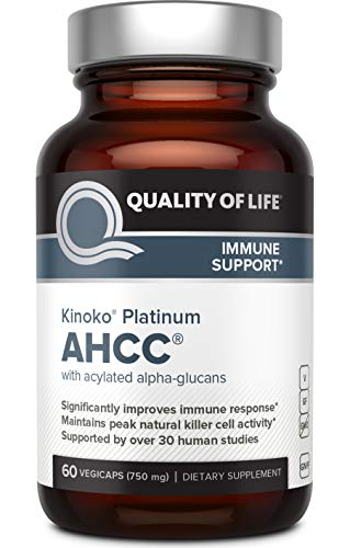 Premium Kinoko Platinum AHCC Supplement - 750mg of AHCC per Capsule - Supports Immune Health, Liver Function, Maintains Natural Killer Cell Activity - 60 Veggie Capsules (Best Thing For Warts)