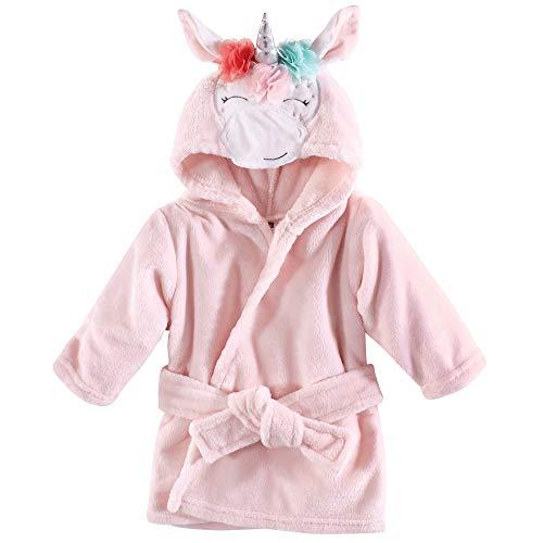 Hudson Baby Unisex Baby Plush Animal Face Robe, Pink Multicolor Unicorn, One Size]()