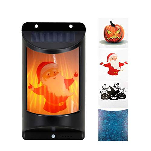 SILIVN Solar Flame Wall Lamp, Flickering Flames Wall Lights, Wireless Waterproof Wall Mounted Sconces for Halloween, Thanksgiving and Christmass Decorations(with 4 Patterned Stickers)