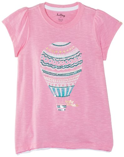 Hatley Little Girls' Slub Jersey Graphic Tee Hot Air Balloons, Pink, 8