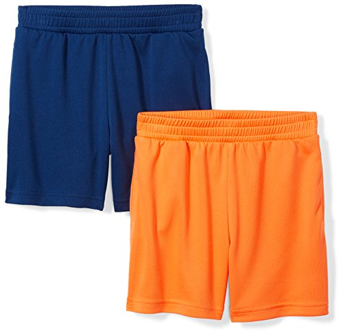 Spotted Zebra Little Boys' 2-Pack Active Mesh Shorts, Orange/Navy, X-Small (4-5)
