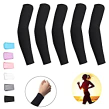5 Pairs Cooling Arm Sleeves Cover UV Sun Protection Armband Basketball Golf Athletic Sport Running Compression Sleeve