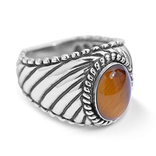 (American West Sterling Silver Tiger Eye Gemstone Wide Rope Border Ring Size 9)