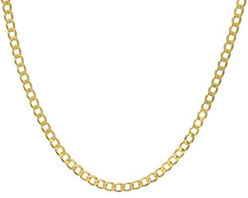 Revoni Bague en or jaune 9carats-30g-Collier Femme-Maille Gourmette, longueur 76cm/76,2cm, Largeur: 6.2mm