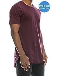 Mens Hipster Hip Hop Elong Longline Crewneck T-shirt
