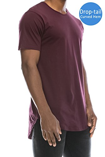 JC DISTRO Mens Hipster Hip Hop Cotton Elong Crewneck T-Shirt Wine XXXLarge (Cotton Fashion Hipster)
