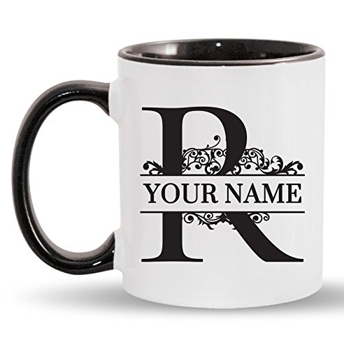 R - Custom Monogram Coffee Mugs - ADD YOUR NAME - Personalized Ceramic Cups - 11oz