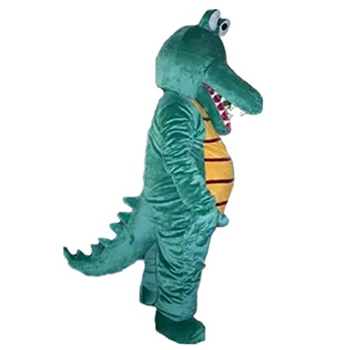 Green Crocodile Mascot Costume Cartoon Halloween Party Dress Adult -