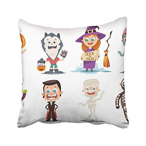 Guan Tong Halloween Kids Costumes Pumpkin Vampire Werewolf Zombie Witch with Broom Mummy and Skeleton Cartoon Throw Pillow Covers 18x18 Inch Decorative Cover Pillowcase Cases Case Two Side