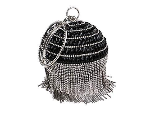 Rotonda Mini Sera Sacchetto Bag Moda Fringe Selvatici Sera Borsa Signore Black Banchetto Di Forma pRndq01