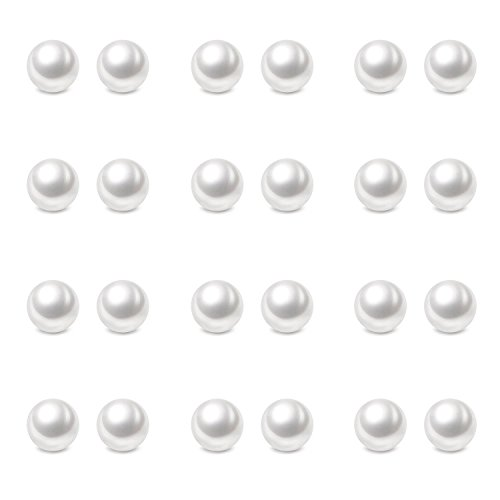 (Charisma 6mm Composite Pearl Earrings Round Ball Pearls Stud Earrings Hypoallergenic 12 Pairs Imitation Pearl Earrings Set for Girls)