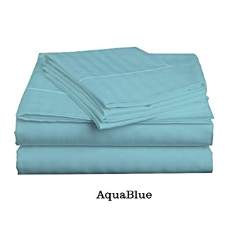 H&H Decor 400 TC 100% Egyptian Cotton Hotel Finish 2-Pillow cases,1-fitted sheet,1-Hamp with 'Piping Flat sheet' with 6-10 inches Pocket Both(Queen,Stripe,Aqua Blue)