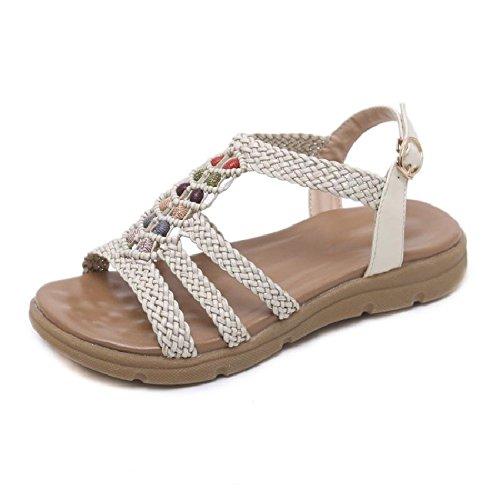 Planas de del Casual Zapatos la se de Playa Sandalias Bohemia YMFIE Verano Moda Las la de Bohemia la los B Deslizan cómodas vwx7FEq40