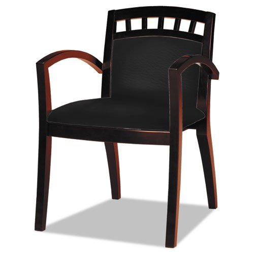 Mayline VSC5ABMAH Mercado Series Arch-Back Wood Leather Guest Chair, - Mercado Wood Series