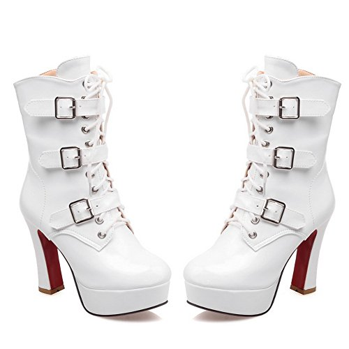 A Heels amp;N Girls Patent White Platform Boots Buckle Chunky Bandage Leather IHIFOqcwr