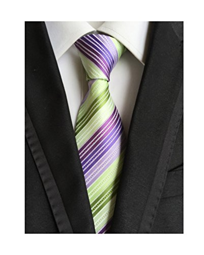 (MENDENG Striped Silk Woven Classic Check Man's Business Tie Necktie Wedding Ties, Green Purple, One Size)