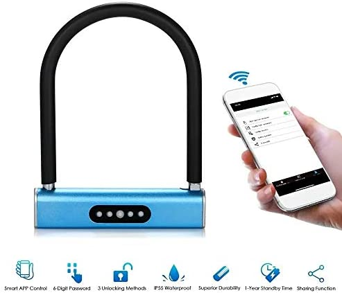 電子ドアロック スマートキーレスU型ロックキーボードパスワードはオートバイロックバッテリ駆動アンロックドアの自転車 電子錠 (Color : Blue, Size : One size)