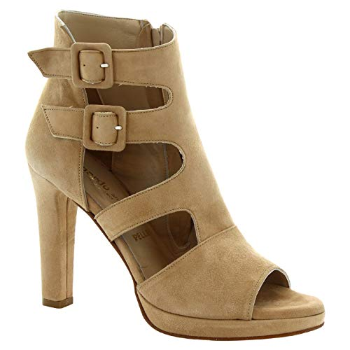 Leonardo Shoes Women's Beige Leather Suede Manmade High Heel Sandals Shoes - Size: 11 US