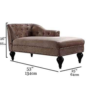 Divano Roma Furniture Kid s Chaise Lounge Indoor Chair Tufted Velvet Fabric, Modern Long Kid Size Lounger for Bedroom or Living Room Champagne