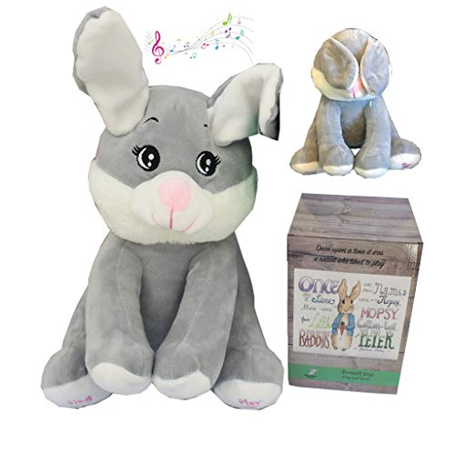 Bsmart toys Surprise Gift Box Peek a Boo Bunny- Baby or Toddler, Girl ,Boy,Plush Toy -Best New Born, Baby Shower ,Infant, 1 Year Old Present Singing and Playing Peek-a-Boo Animated Plush Rabbit Toys