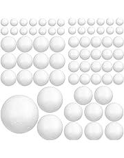 Bolas Poliestireno (88 Piezas) - Bola de Corcho 6 Tamaños Espuma Blanca para Manualidades. Proyectos Caseros y Escolares, Decoración (8cm, 6cm, 5cm, 4cm, 3cm, 2cm)
