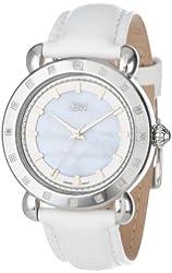 JBW Women's J6265B  16 Diamond Bezel White Genuine Leather Band Watch