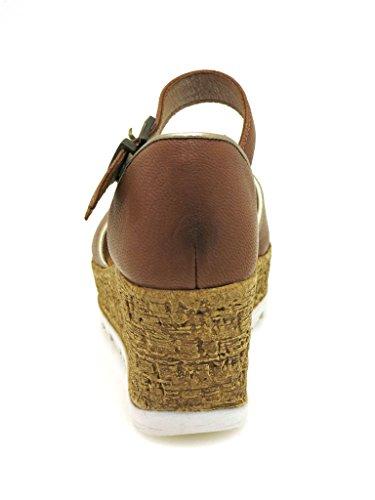 Innocent Sandalette Ledersandale Leder Sommerschuhe 177-AD03 Cognac