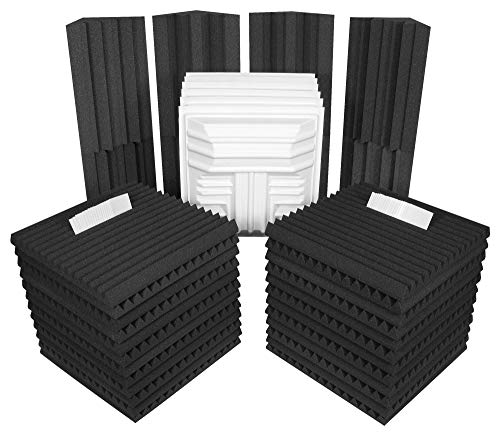 Auralex DLXPLUSCHA/CHA Deluxe Plus Roominator Kit:  24- 2'x2'x2 Wedge Panels-Charcoal; 8- LENRD Bass Traps-Charcoal; 6- T'Fusor diffusor and adhesive
