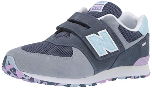 New Balance Boys' Iconic 574 Hook and Loop Sneaker Vintage Indigo/Dark Violet glo 6.5 M US Big Kid -