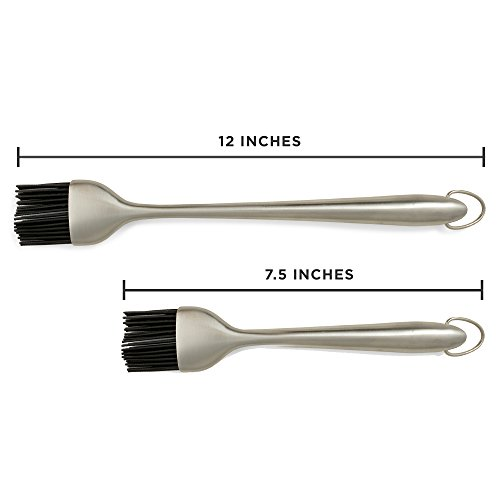 """Set of 2 BBQ / Grill Basting Brushes – 12"""" & 7.5"""" Stainless Steel Handle With Silicone Bristles"""