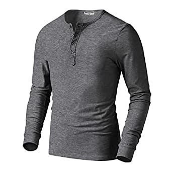 Derminpro Men s Henley Cotton Casual Long Sleeve Lightweight Basic ... 4c009cd7b90