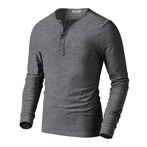 Derminpro Men's Premium Cotton Henley Long Sleeve T-Shirts Grey X-Large