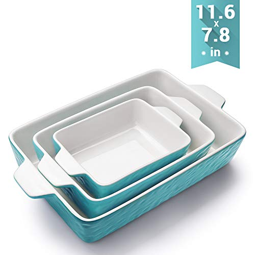 Bakeware Set, Krokori Rectangular Baking Pan Ceramic Glaze Baking Dish for Cooking, Kitchen, Cake Dinner, Banquet and Daily Use, 11.6 x 7.8 Inches of Aquamarine, 3 Pack of Rectangular (Safe Oven Dinnerware)