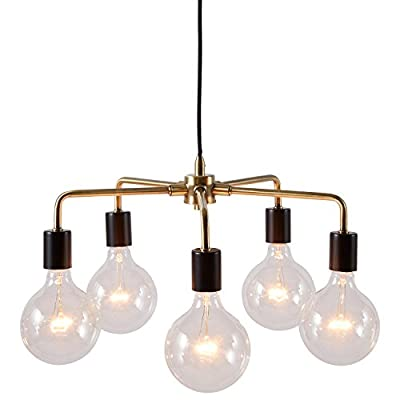 "Rivet 5-Arm Industrial Pendant Chandelier, 36""H, With Bulbs, Black and Brass Finish"