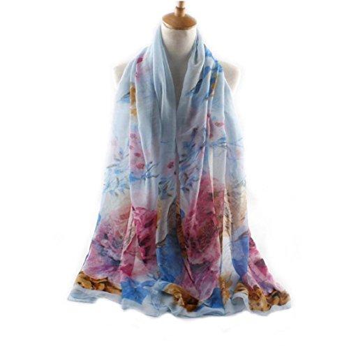 Ikevan Hot Selling Newset Women Lady Warm Retro Shawl Flower Scarf Soft Voile Silk Shawl Wrap Large Scarves Autumn Winter 180x90cm (Blue) (18k White Gold Diamond Pearl)