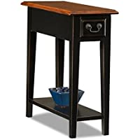 Traditional Beautifully Crafted Solid Rich Two Tone Ash Color Oak Veneer Wood Side End Table Functional Handy Fine Detail Dovetailed Drawer Perfect Narrow Size Modern Rectangle Chairside Sleek Design