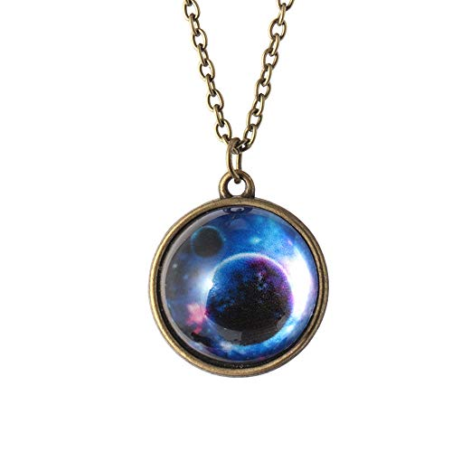 Halloween Hot Sale!!!Kacowpper Galaxy Necklace,Solar System Necklace Pendant Planet Necklace Galaxy Double Sided Glass Dome Valentine's Day Best Gift Between Lovers