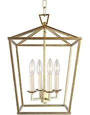 Dia 12.6 Inch Iron Cage Openwork Lantern Pendant Lamp Stairway Loft Entry Kitchen Hall Foyer Ceiling Fixture (Medium Size)