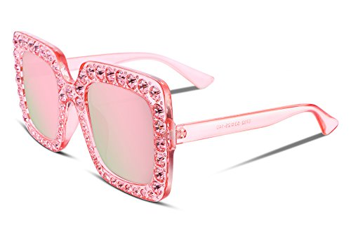 FEISEDY Women Sparkling Crystal Sunglasses Oversized Square Thick Frame B2283 ()
