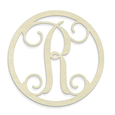 UNFINISHEDWOODCO Single Letter Circle Monogram-R, 19-Inch, Unfinished