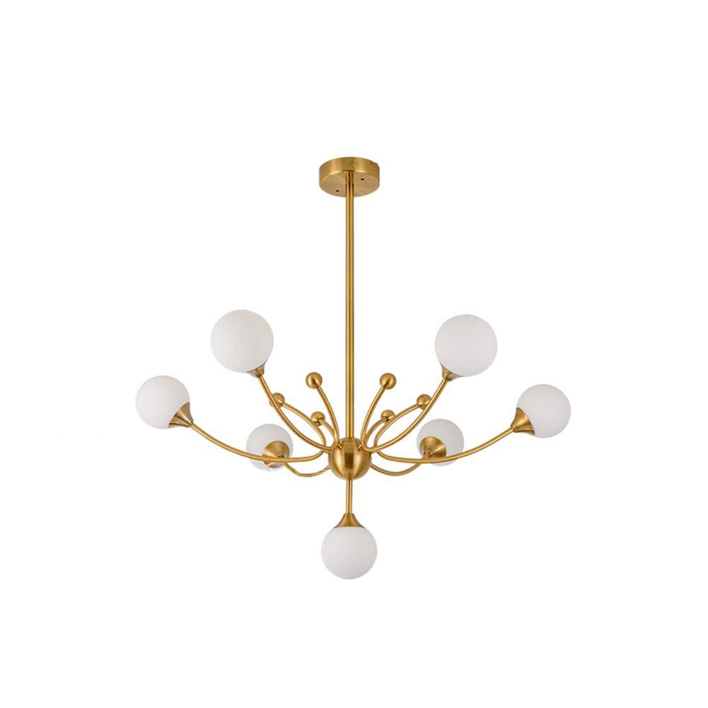 Modern Chandelier Glass Ball Ceiling Light Fixture Plating Metal Pendant Lighting for Living Room/Bedroom(7-Lights)