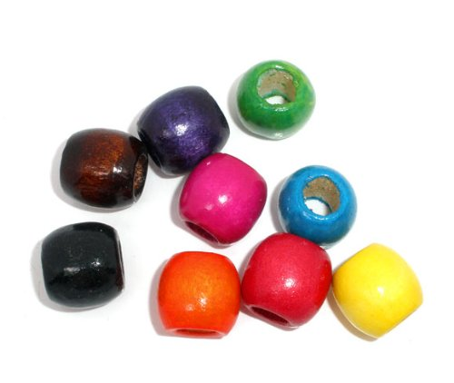 200 Round Painted Multicolor Barrel Wood Beads 17mm x 14mm Diameter 8mm Large Hole