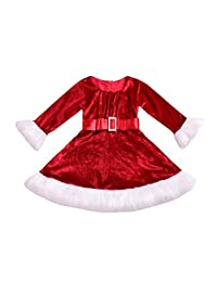 LIKESIDE Toddler Infant Kid Baby Girl Christmas Red Princess Dress Fluffy Outfit