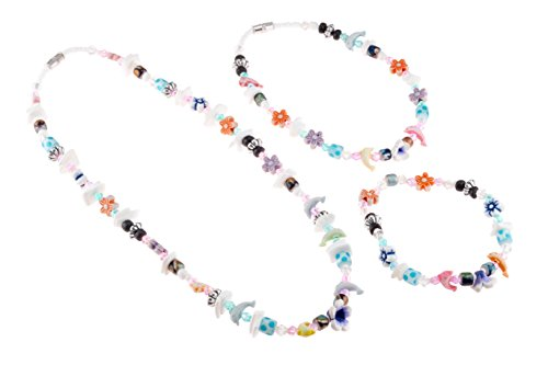 - Puka Chip Shell and Glass Beaded Necklace with Sealife and Flower Beads