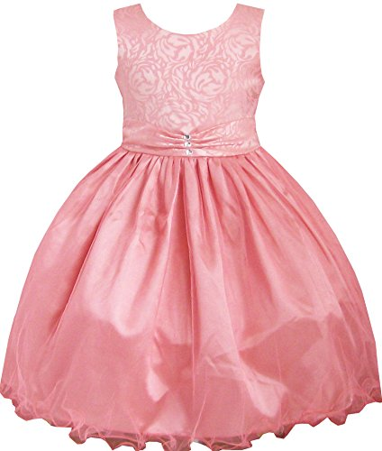 Diamond Kids Dress Size Girls Years Wedding 12 Coral 2 Pageant Multi Pink layers awgxxpOqR